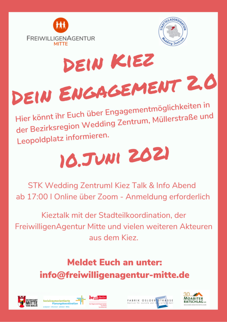 Plakat Dein Kiez Dein Engagement Juni 2021